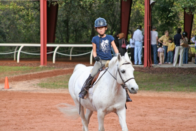 Determined young rider.