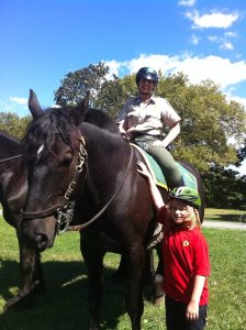 My last (fairly) routine job was with the NYC Dept. of Parks and Recreation. Here I am on Monte in Prospect Park, Brooklyn. (My son came to visit.)