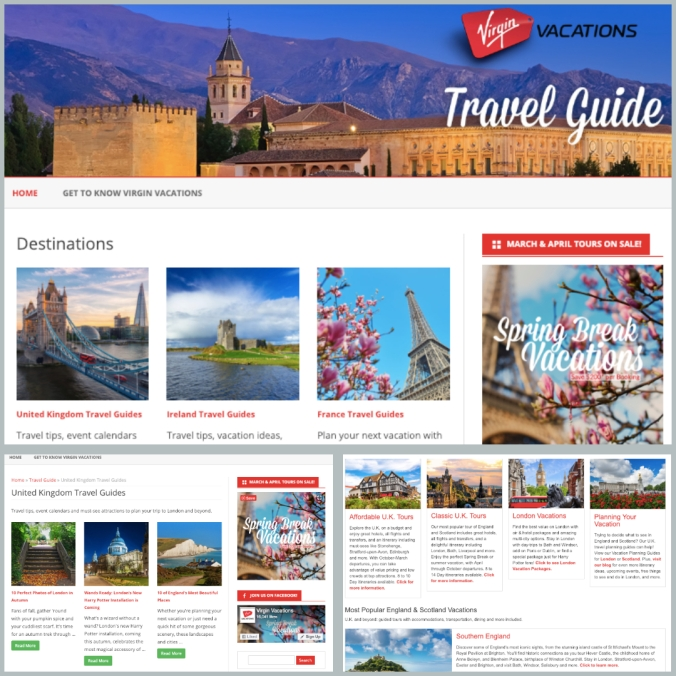 Virgin Vacations Travel Guide design