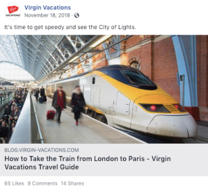 virgin vacations organic facebook sharing